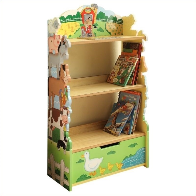 Teamson Kids Wooden Bookshelf - Happy Farm Room Collection