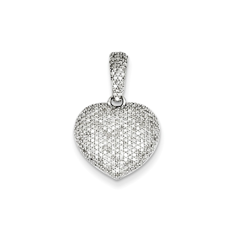 Sterling Silver Diamond Heart Pendant. Carat Wt- 0.67ct