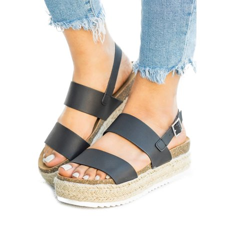 Womens Platform Espadrille Sandals Buckle Peep Toe Summer Casual Shoe