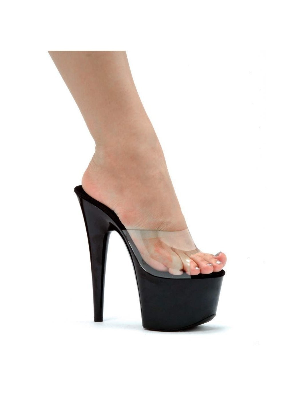 Ellie Shoes E-709-Vanity 7 Pointed Stiletto Mule Clear/Black / 6