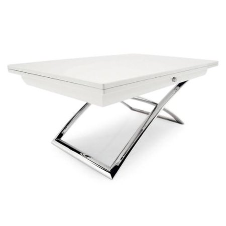 Magic J Versatile Dining Coffee Table With Flip Top Glossy Black Finish