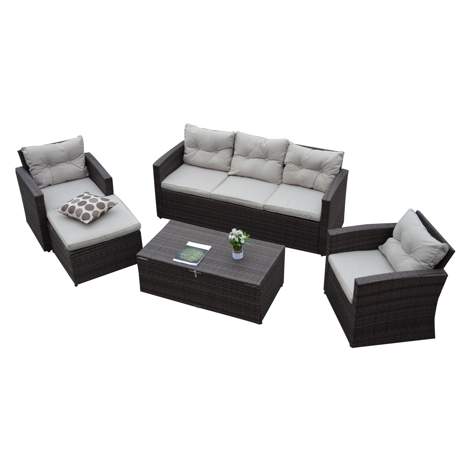 Thy-Hom Rio Wicker All-Weather 5 Piece Patio Conversation Set with Storage and Ottoman by The-Hom