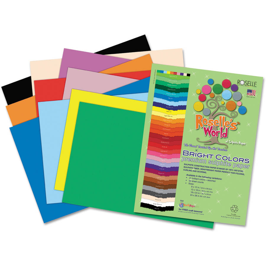 Roselle 76401 Premium Sulphite Construction Paper, 76 lbs., 9 x 12, Assorted, 50/Pack