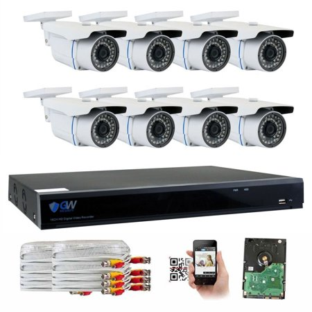 GW Security 8 Channel 5MP (2.5X 1080P) CCTV Surveillance DVR System with 8 x Super 5.0MP HD 1920p (2592TVL) Waterproof Security Cameras,110ft IR Night Vision,2TB Hard