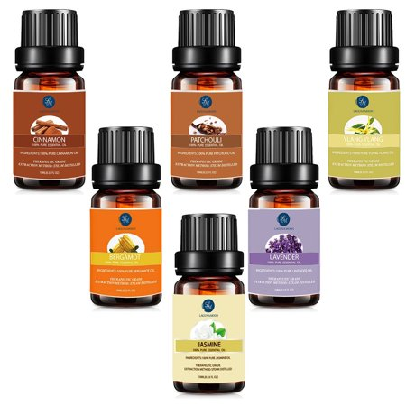Lagunamoon Essential Oils Gift Set,Top 6 Premium Therapeutic Aromatherapy Oil Kit Blend For Women,10ML Ylang Ylang Bergamot Patchouli Jasmine Cinnamon Lavender Fragrance For Personal Care