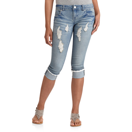 No Boundaries Juniors Distressed Crop Jeans