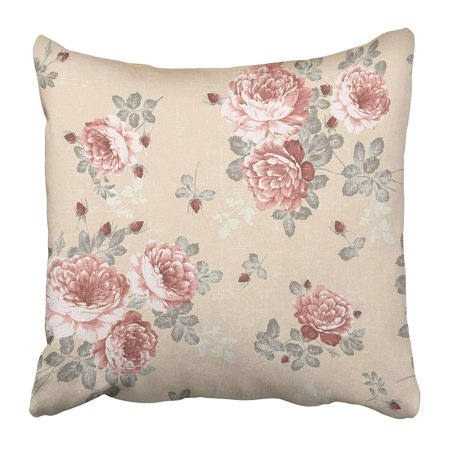 USART Yellow Lace Floral for Blue Design Pattern Vintage Rose Flower Antique Retro Ink Pillow Case Cushion Cover 18x18 inch