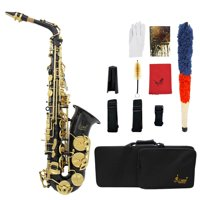 LADE Brass Engraved Eb E-Flat Alto Saxophone Sax Abalone Shell Buttons Wind Instrument with Case Gloves Cleaning Cloth Belt Brush