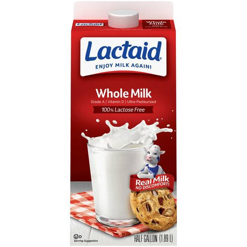 Lactaid 100% Lactose Free Whole Milk, .5 gal