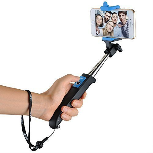 Mpow iSnap Y One-piece Portable Self-portrait Monopod Extendable Selfie Stick with built-in Bluetooth Remote Shutter for iPhone 6 and more-Blue