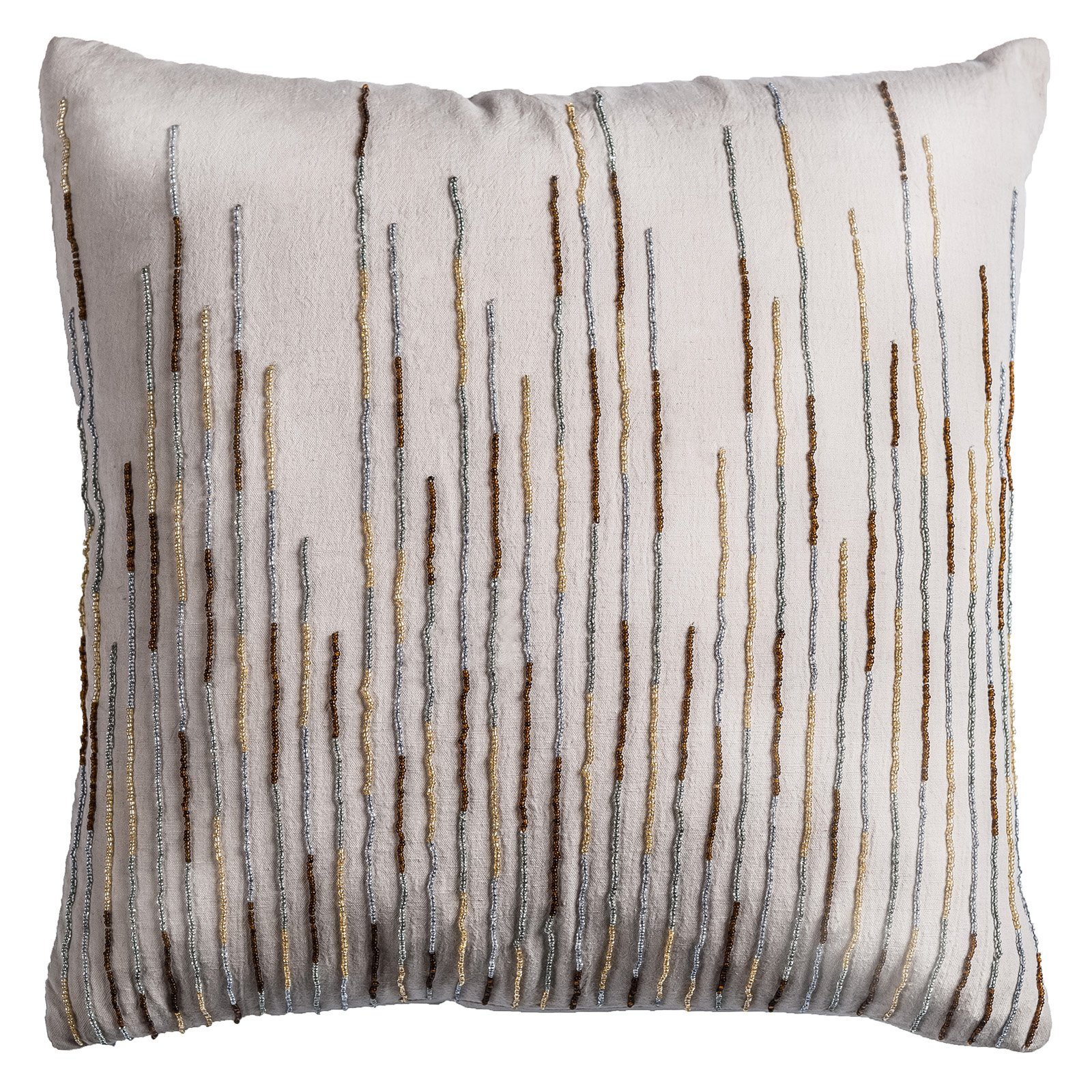 18 Inch X 18 Inch Natural Decorative Pillow With Hand Bead Work