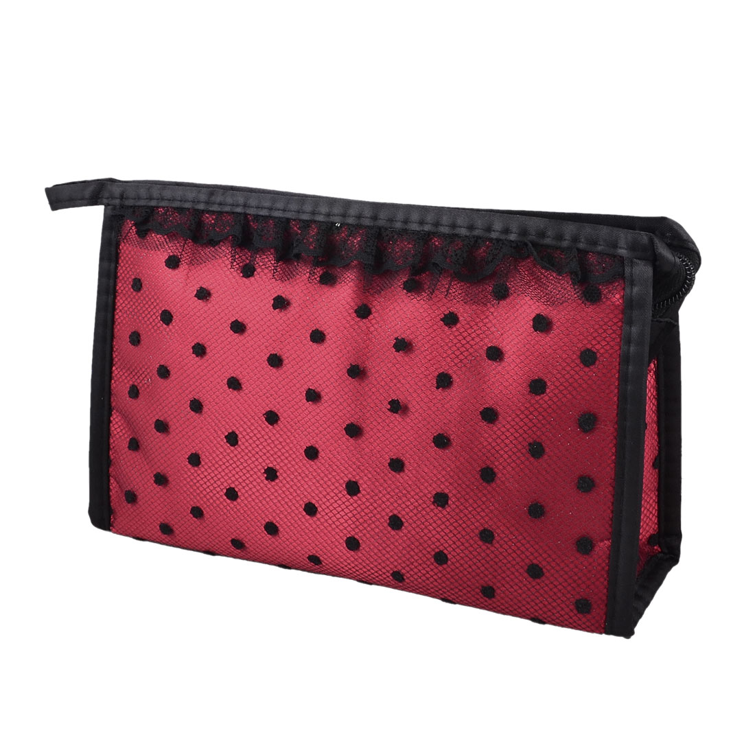 Zipper Rectangular Black Lace Dotted Meshy Cosmetic Makeup Bag Case Organizer Red