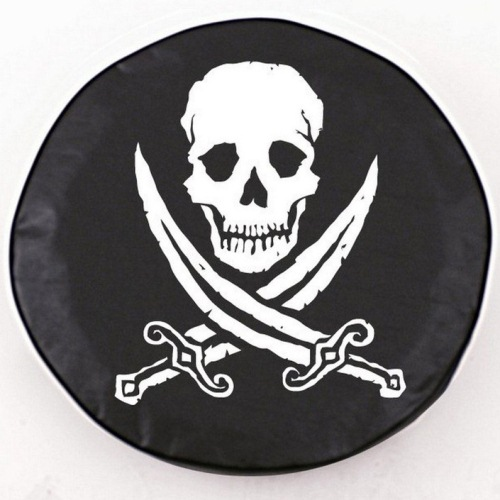 Tire Cover by Holland Bar Stool - Jolly Roger Rough, Black - 29'' x 8''