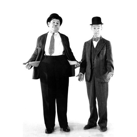 Laurel and Hardy's Laughing 20's classic in their suits with empty pockets! 24x36 Poster - 20s Suits