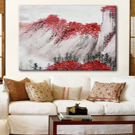 wall26 Canvas Wall Art - Chinese Ink Painting Style Red Mountains with Red Trees During Fall Season - Giclee Print Gallery Wrap Modern Home Decor Ready to Hang - 16x24 inches