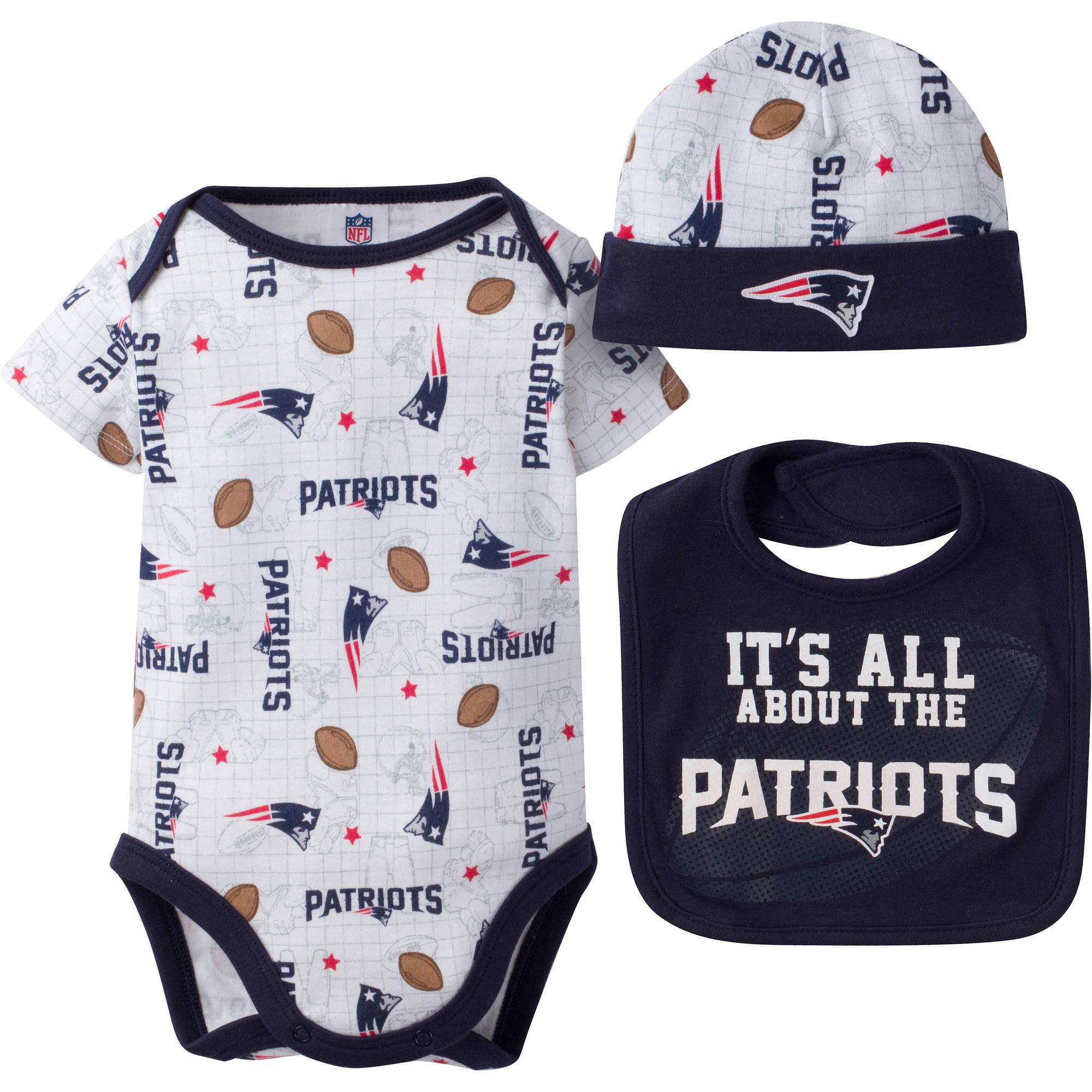 NFL New England Patriots Baby Boys Bodysuit, Bib and Cap Outfit Set, 3-Piece