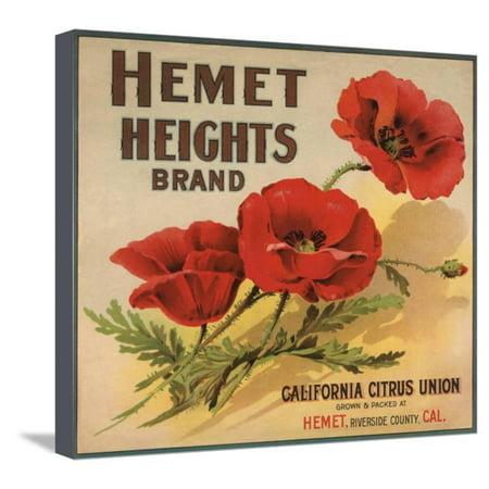 Hemet Heights Brand - Hemet, California - Citrus Crate Label Stretched Canvas Print Wall Art By Lantern Press ()