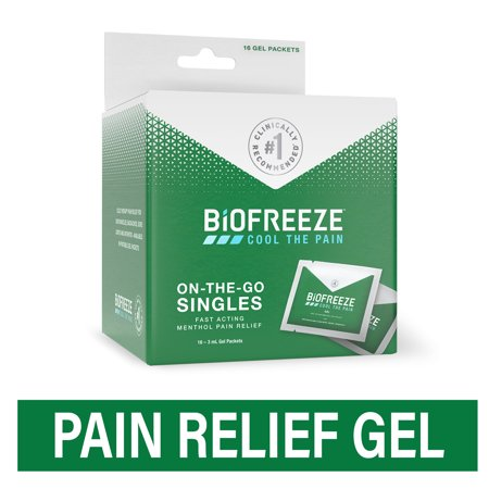 Biofreeze On-The-Go Pain Relieving Gel, Arthritis, Muscle, Joint and Back Pain Relief, 3 mL Travel Packets, Box of 16