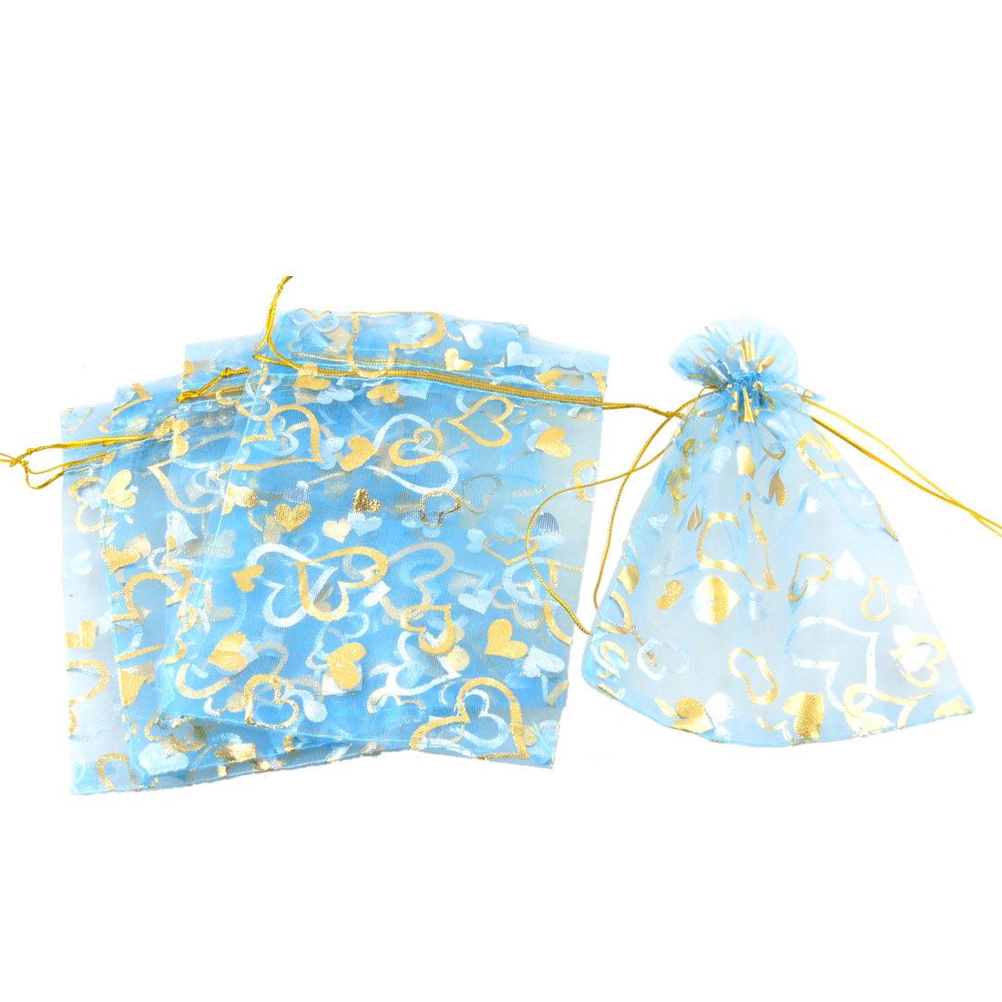 5 Pcs Gold Tone Heart Prints Sky Blue Organza Favor Gift Pouch Sachet Bags