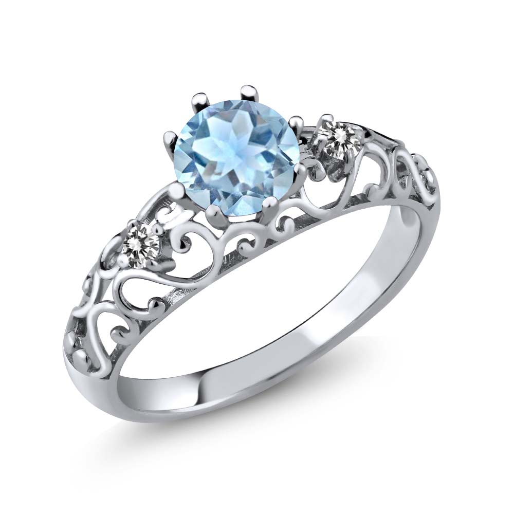 0.87 Ct Round Sky Blue Aquamarine White Diamond 925 Sterling Silver Ring