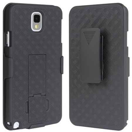 14 Note - Black Hard Shell Combo Case Shock-proof Carrying Holster Swivel Belt Clip with Kick-stand 14 for Samsung Galaxy Note 3