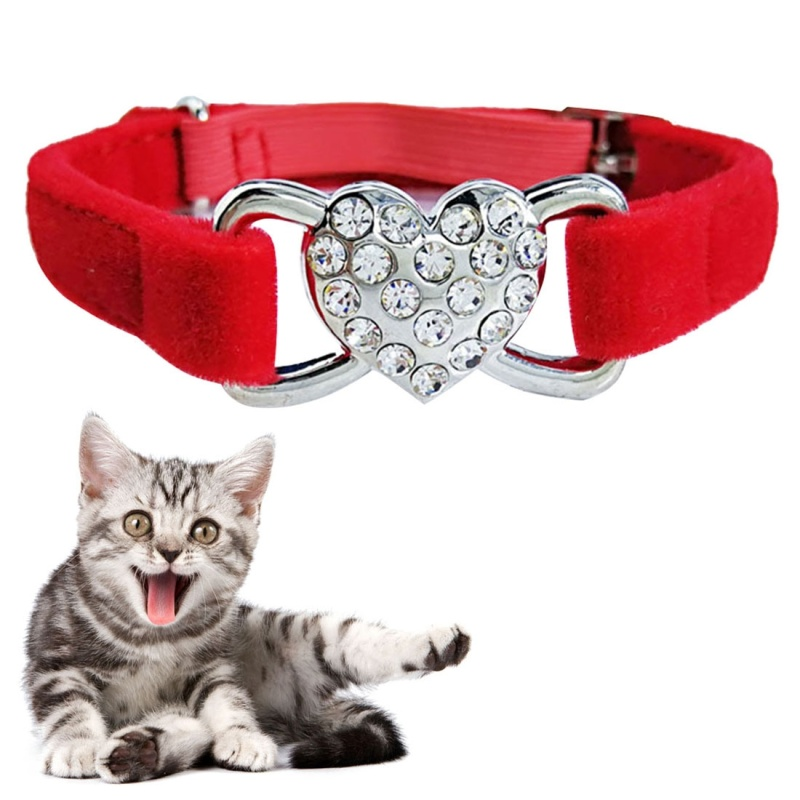 Pet Cat Heart-shaped Diamond Double Layer Plush Adjustable Collar, Size:1.0*28.0cm (Red)