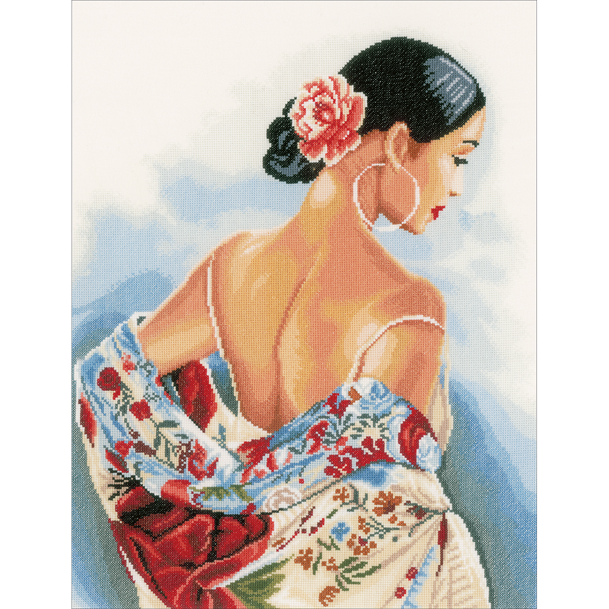 """LanArte Flower Scarf On Cotton Counted Cross Stitch Kit, 14.5"""" x 19"""", 27 Count"""