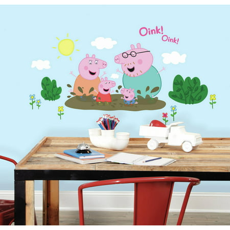 roommates peppa the pig family muddy puddles peel and stick giant wall decals. Black Bedroom Furniture Sets. Home Design Ideas