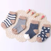 Stockings for Girls Cable Knit Cotton Soft Tight Non-slip Cartoon Prints Keep Warm Infant Toddler Kids Children School Socks Blue 4 Pair M