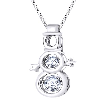 Dancing Round Cut White Sapphire Snowman Pendant Necklace In 14K White Gold Over Sterling -