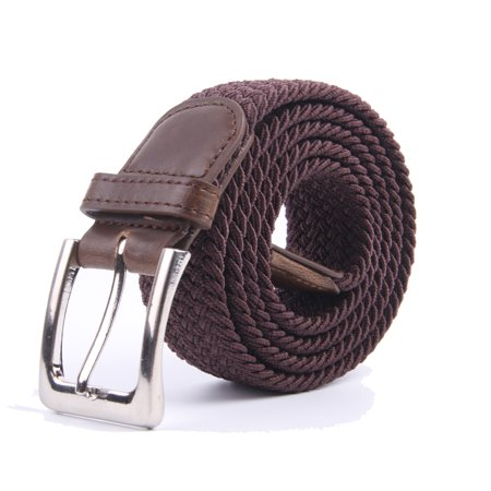 Canvas Elastic Fabric Woven Stretch Braided Belts Solid Color - Coffee, XL
