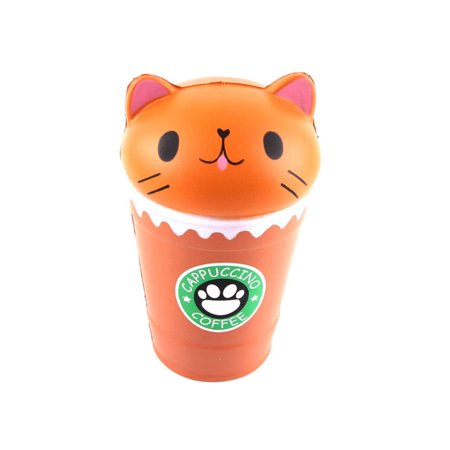 Jumbo Coffee - Coffee Cup Cat Jumbo Scented Squishy Slow Rising Squeeze Stress Reliever Toys