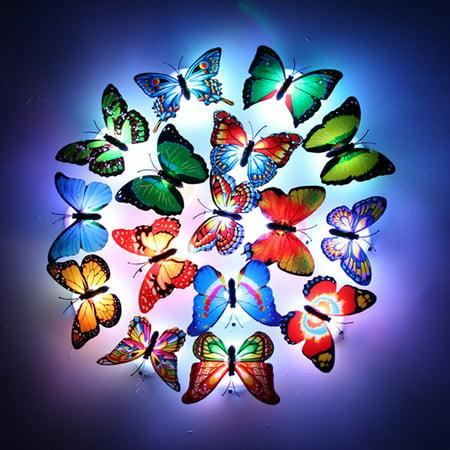 12 packs LED Flashing Lamp Butterflies Night Light Butterfly Decoration ()