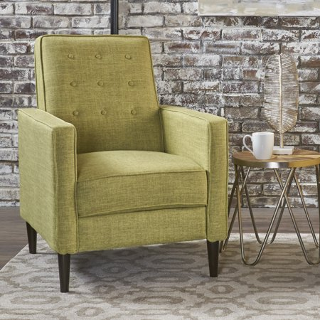 Noble House Melvin Mid Century Modern Fabric Recliner,Green