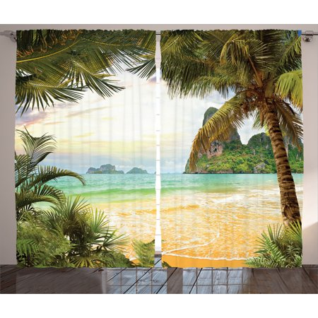 Ocean Decor Curtains 2 Panels Set, Palm Coconut Trees And Ocean Waves Across Mountains On Paradise Island Beach Image, Living Room Bedroom Accessories, By