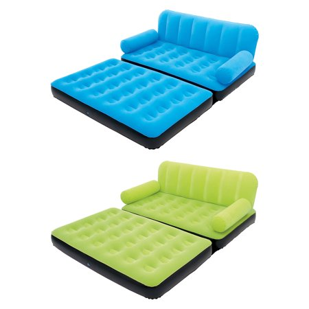 Bestway Multi-Max Inflatable Air Couch Double Bed with Pump, Blue & Green (Best Way To Hang Lights In Bedroom)