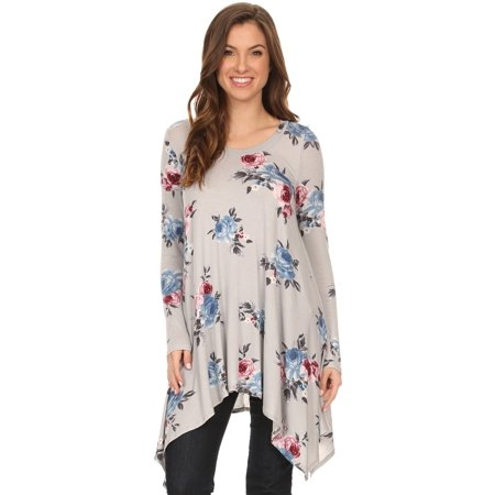 Jersey Print Tunic - Women's Floral printed jersey knit tunic top