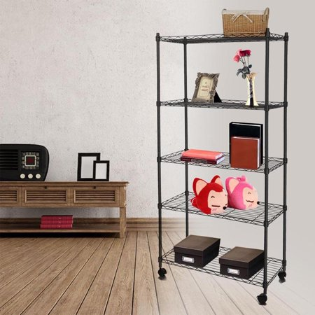 Kingbay 5-Tier 550lbs Capacity Rolling Rack Wire Shelving with Wheels for Kitchen Bedroom Garage (Silver Wirework Ring)