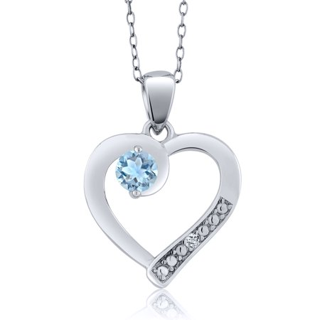 Sky Blue Aquamarine and White Topaz Sterling Silver Heart Pendant with Chain