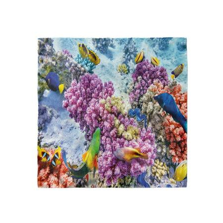 Fish Head Scarf, Marine Life Sea, Head Wrap, 3 Sizes, by Ambesonne Iii Marine Life