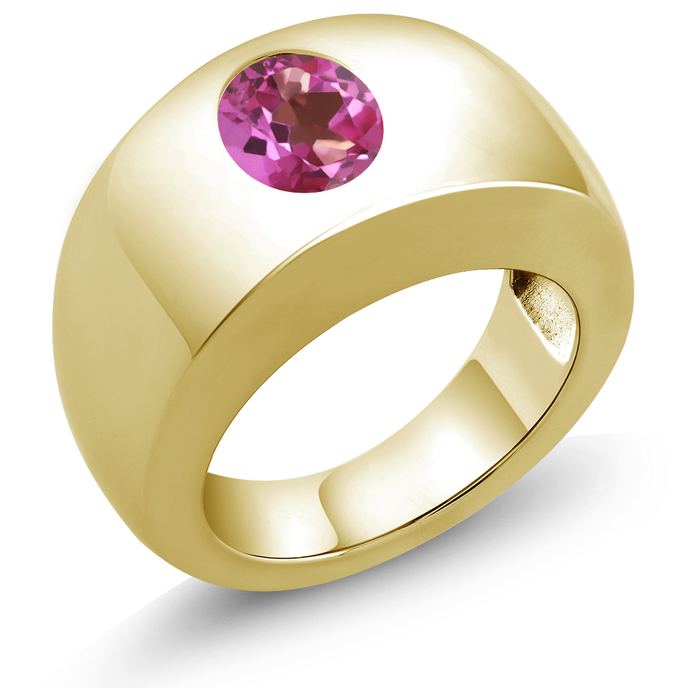 1.80 Ct Oval Pink VS Mystic Topaz 18K Yellow Gold Men's Solitaire Ring by