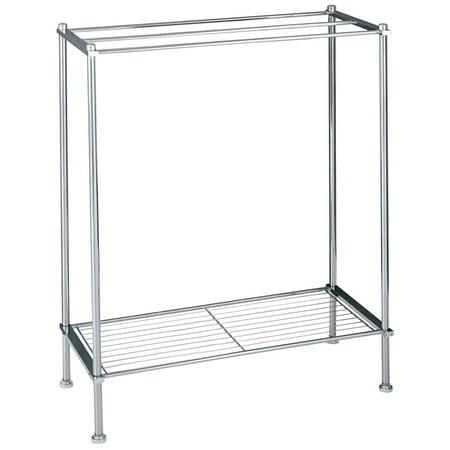 Freestanding 3 Bar Chrome Bathroom Towel Rack with Bottom Shelf, Chrome towel rack By Organize It All