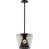 Pendants 1 Light With Gun Metal Finish Hand-Worked Iron and Glass Material LED 14 inch Long 14 Watts