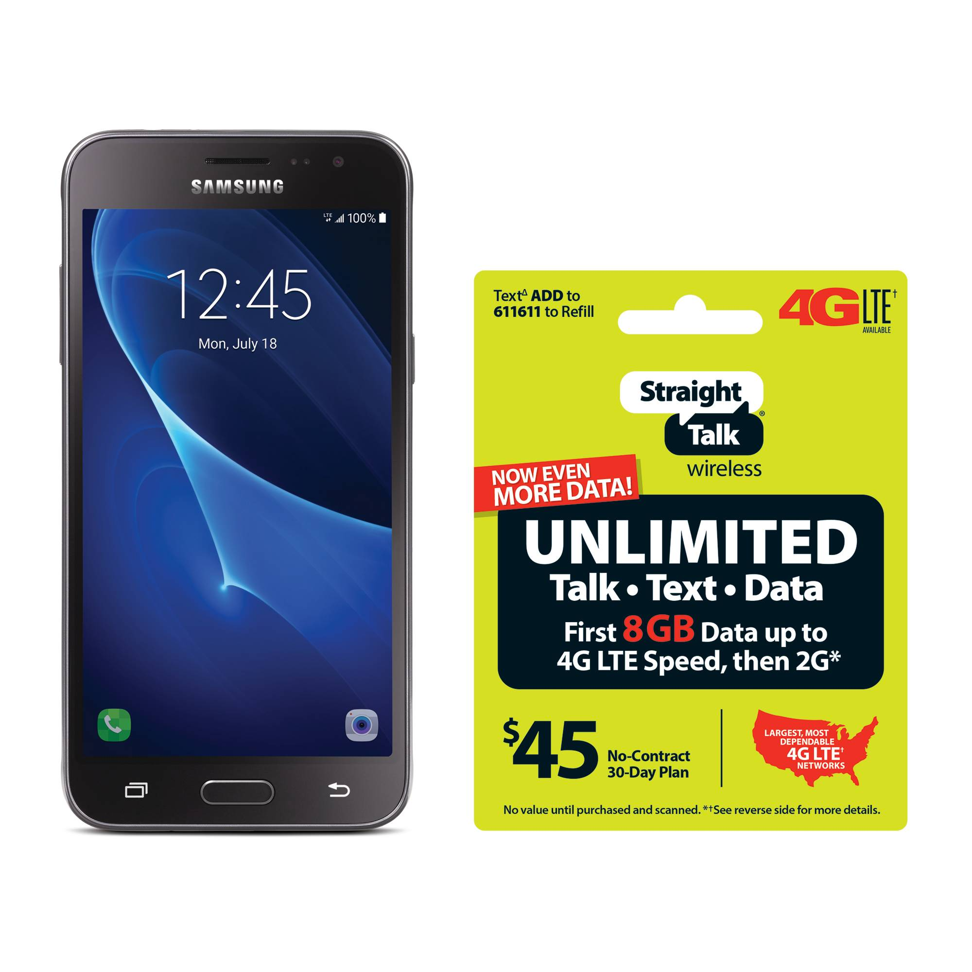 Refurbished Straight Talk Samsung Galaxy J3 Sky 4G LTE Prepaid Smartphone with BONUS $45/30-Day Plan