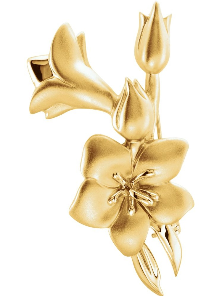 18k Yellow Gold Flower Design Polished Brooch by