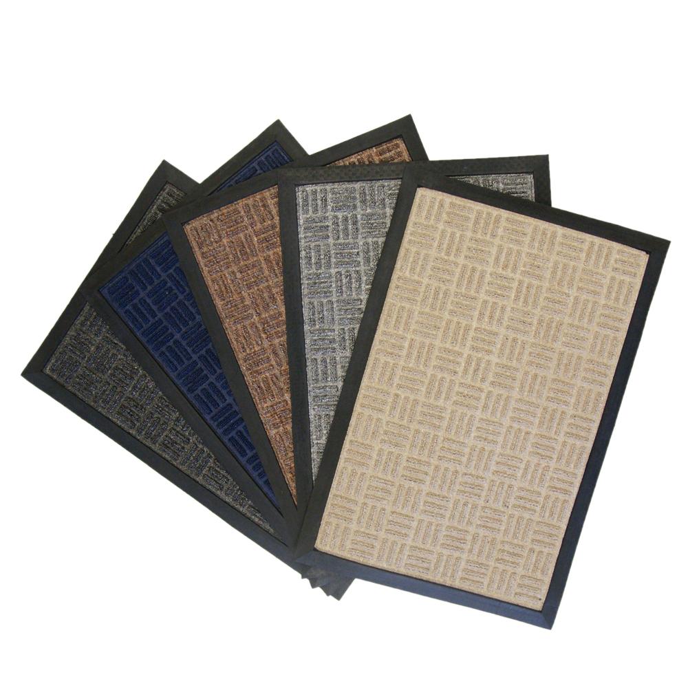 "Rubber-Cal ""Wellington"" Rubber Backed Carpet Doormat - 16 x 24 inches - Blue Polypropylene Mat"