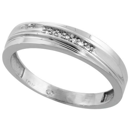 10k White Gold Mens Diamond Wedding Band Ring 0.04 cttw Brilliant Cut, 3/16 inch 5mm wide