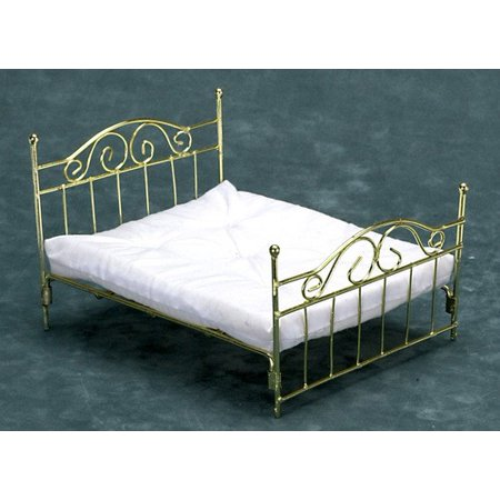Dollhouse Brass Double Bed W/Mattress