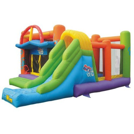 Young kids can jump, bounce, climb, slide and splash their way to fun with the Rocky Mountain River Race constant-air inflatable water slide by Little Tikes!