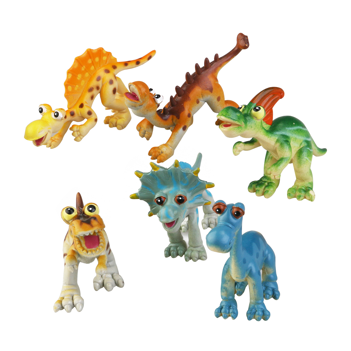 6pcs PVC Cartoon Animal Dinosaur Figure Model Preschool Kids Toy by